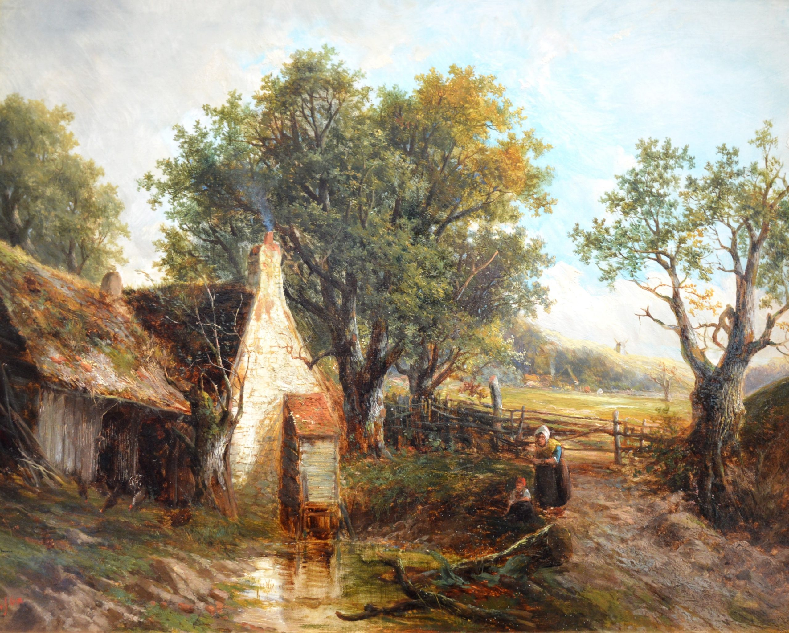 A Norfolk Stream - 19th Century English Landscape Oil Painting Image