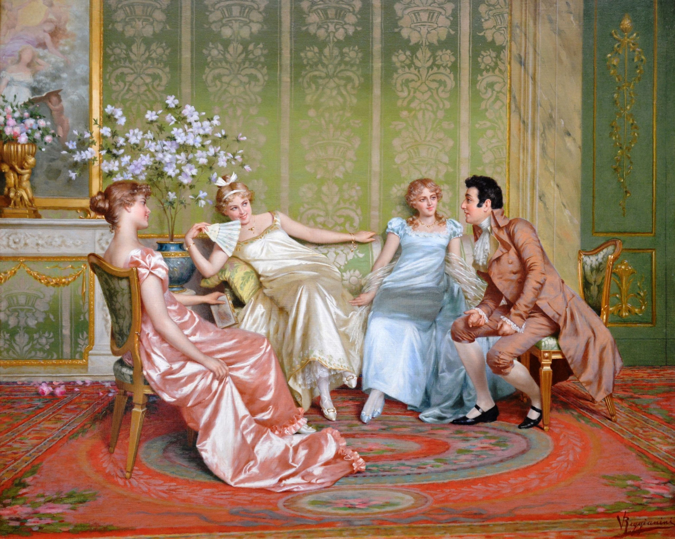 Casanova - Rococo Scene of Young Paris Beauties & Lothario Image