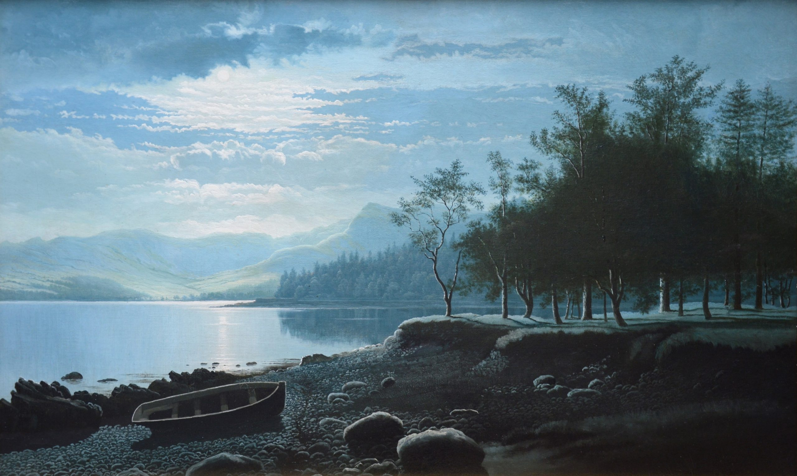 Moonlight, Lake Windermere - 19th Century Nocturne Oil Painting Image