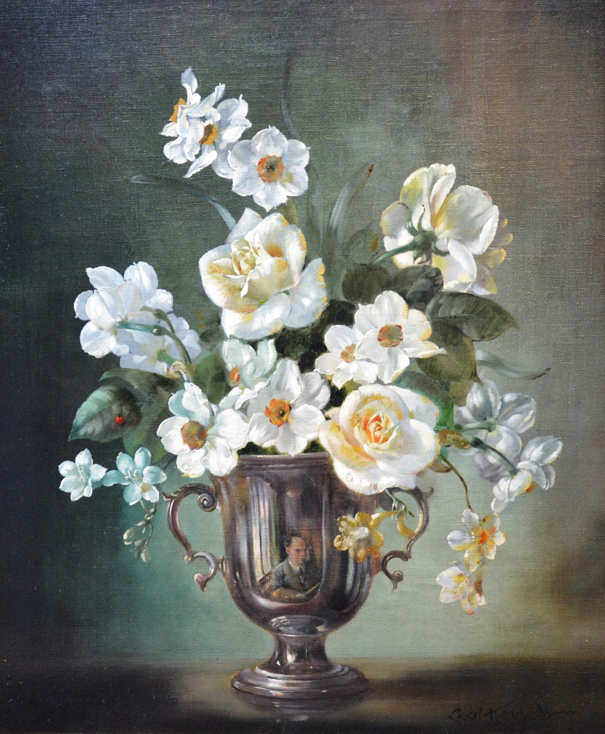 Spring - Floral Still Life of White Daffodils and Roses Image
