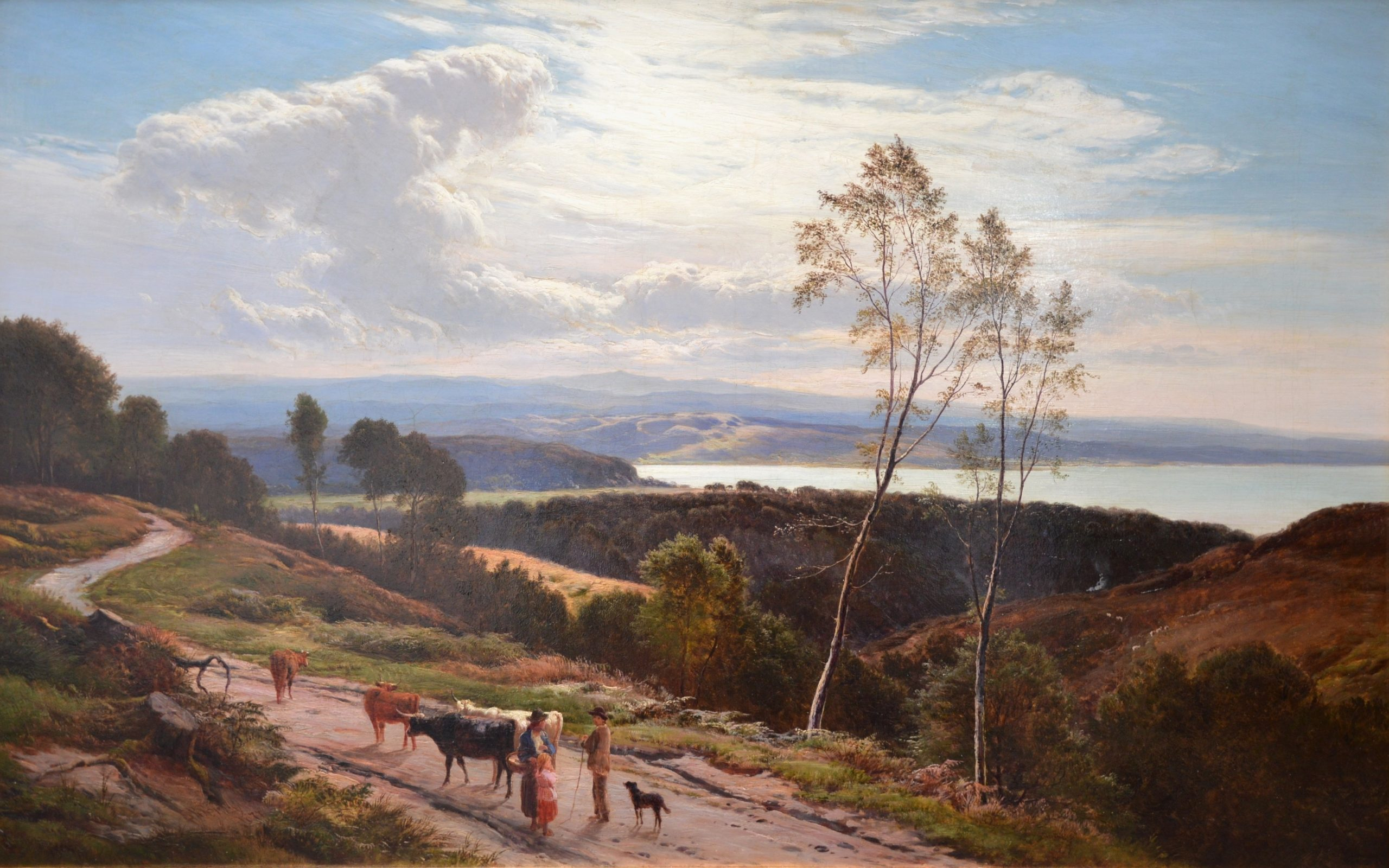 Grange-over-Sands, Cumbria - Large 19th Century Landscape Oil Painting Image