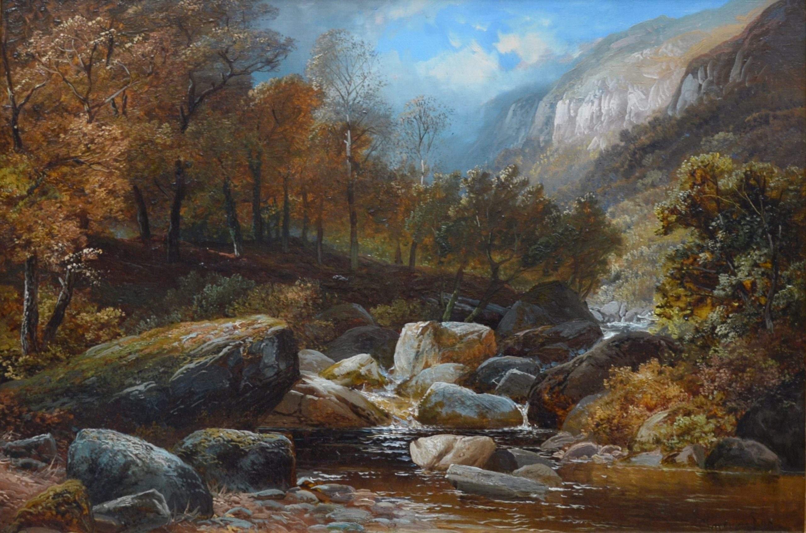 Creeping Steads, River Twiss - 19th Century Yorkshire Landscape Oil Painting Image