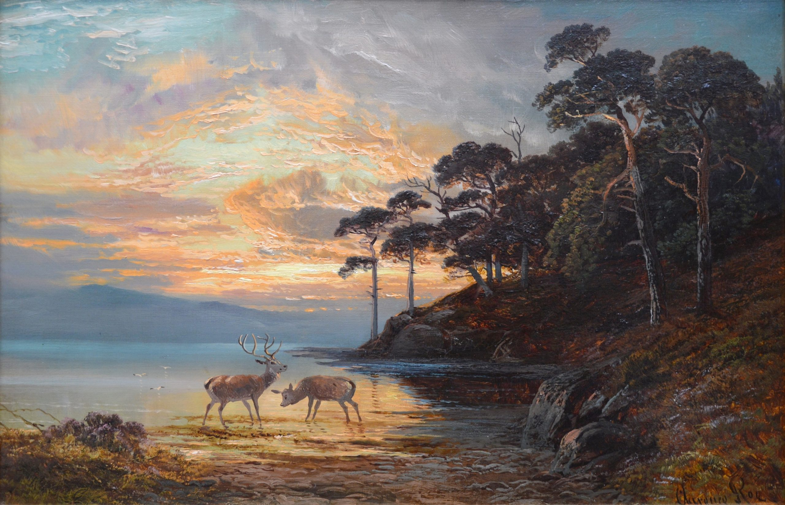 Sunset, Loch Katrine - 19th Century Scottish Landscape Oil Painting Image