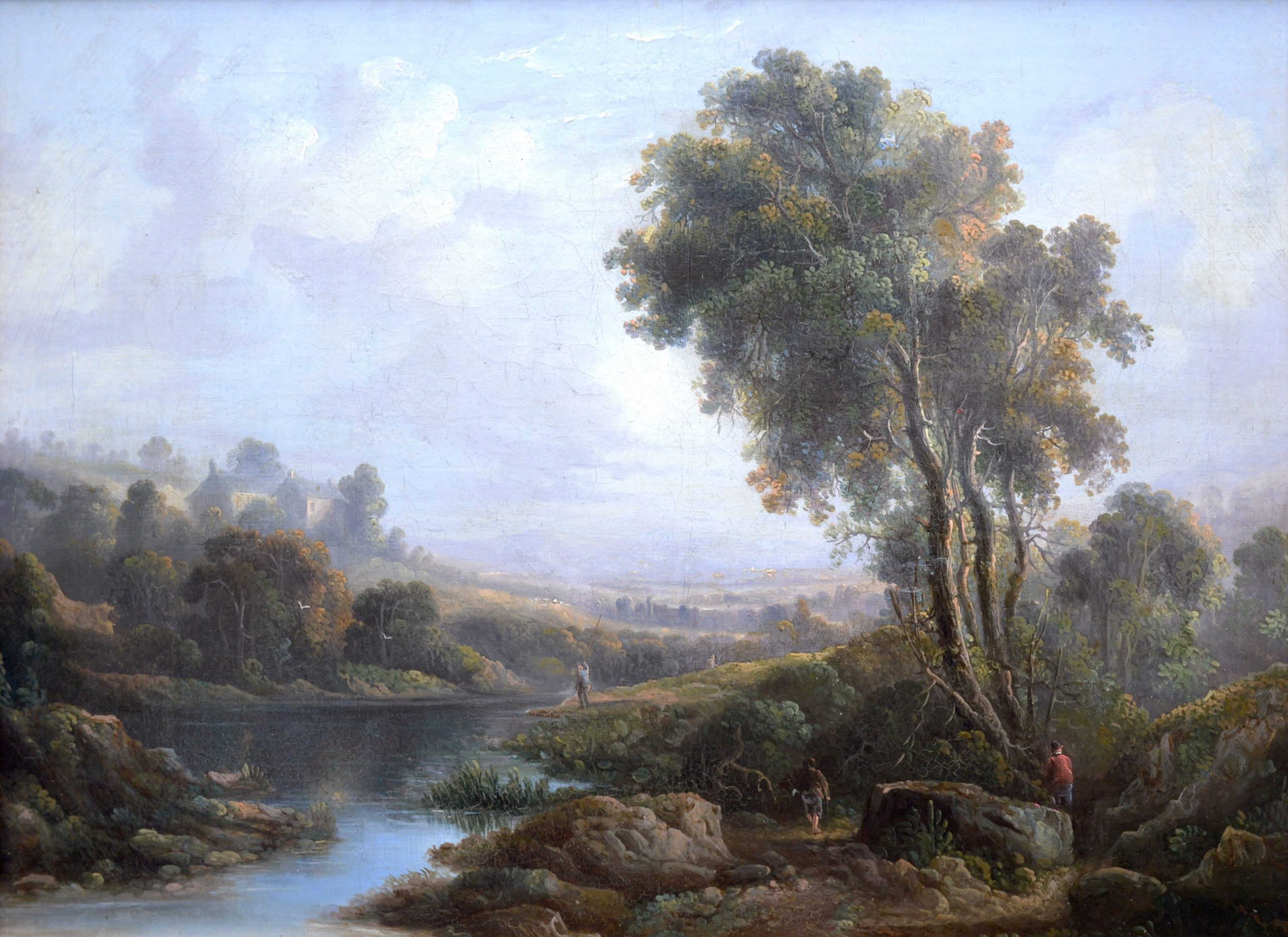 On the River Dee, near Chester - 18th Century English Landscape Oil Painting Image