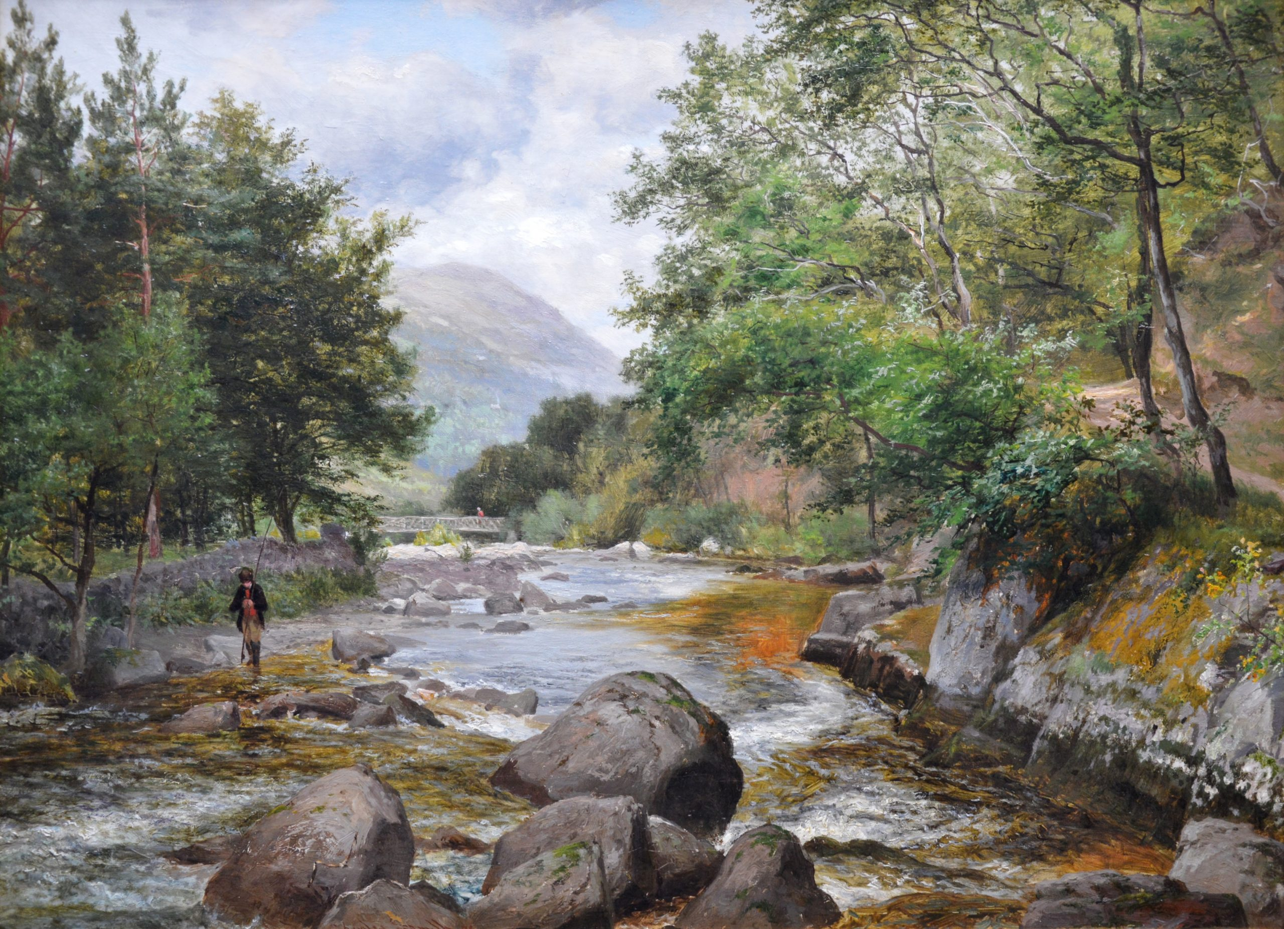 On the Lyn, North Devon - 19th Century River Landscape Oil Painting Image