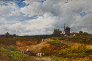 A West Sussex Post Mill - 19th Century Landscape Oil Painting Image