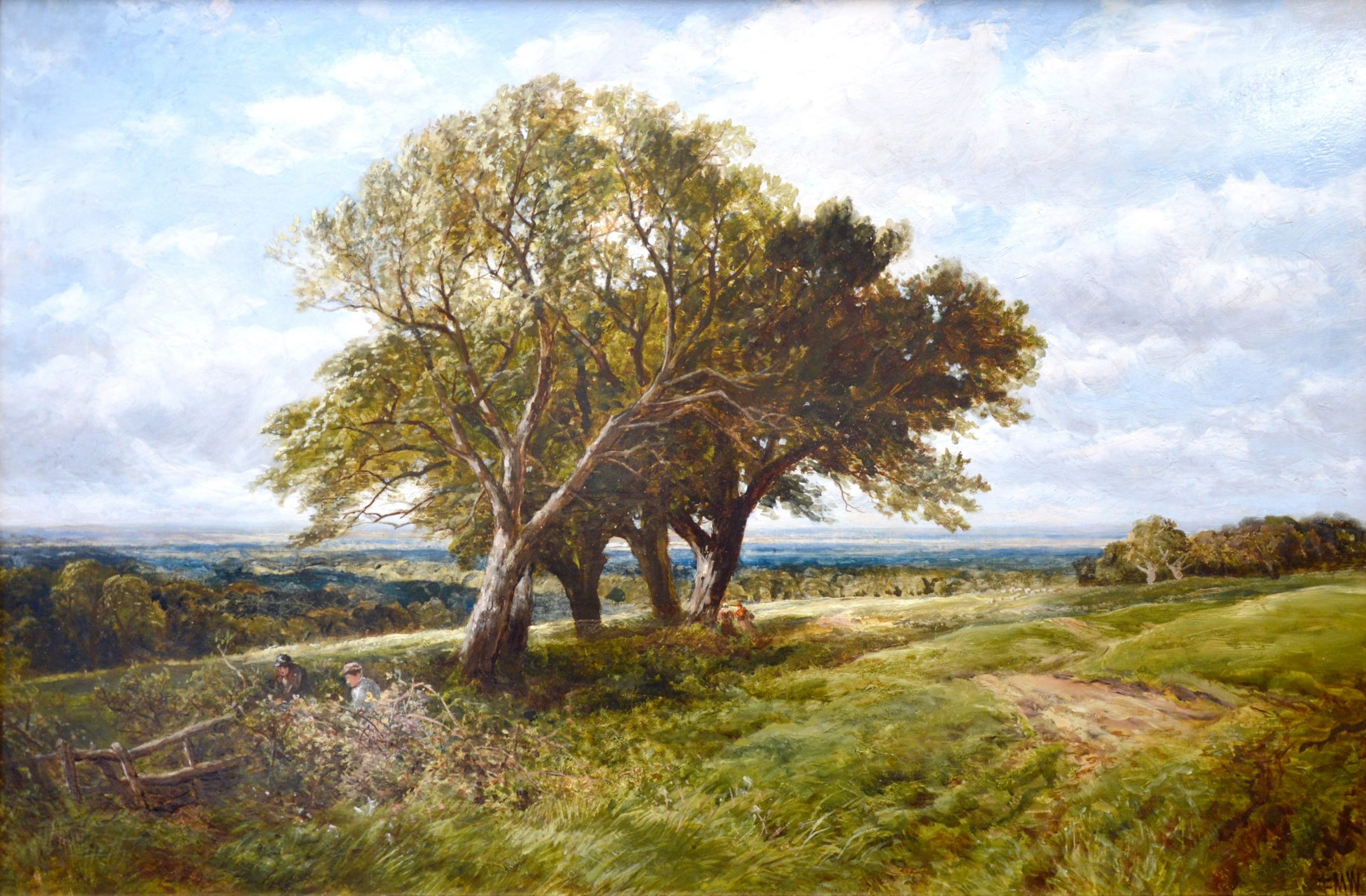 On the South Downs - 19th Century Landscape Oil Painting Image