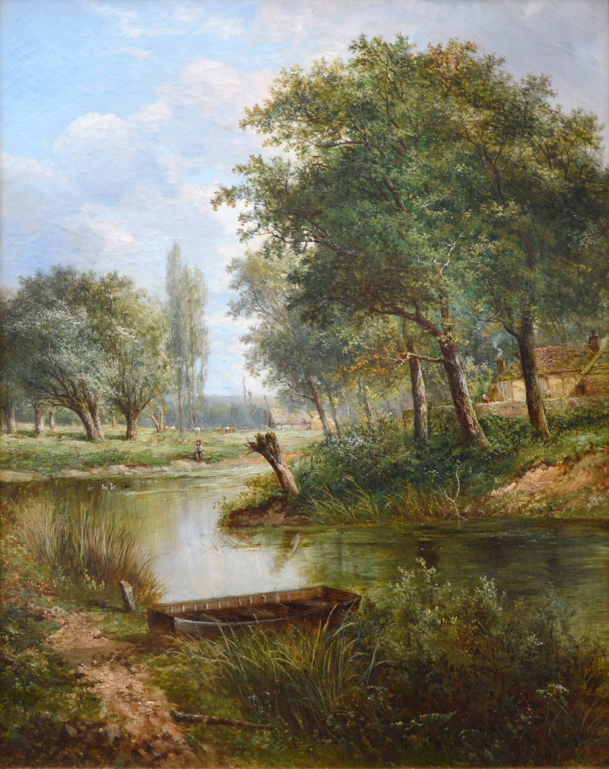 On the Thames near Dorchester - 19th Century Landscape Oil Painting Image