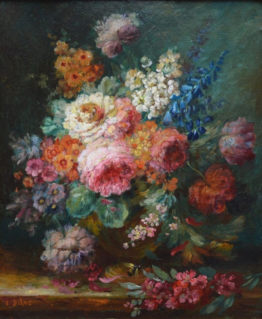 A Summer Arrangement - 19th Century Floral Still Life Oil Painting Image