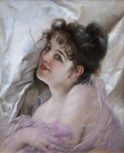La Coquette - 19th Century French Belle Epoque Portrait of Parisienne Girl Image