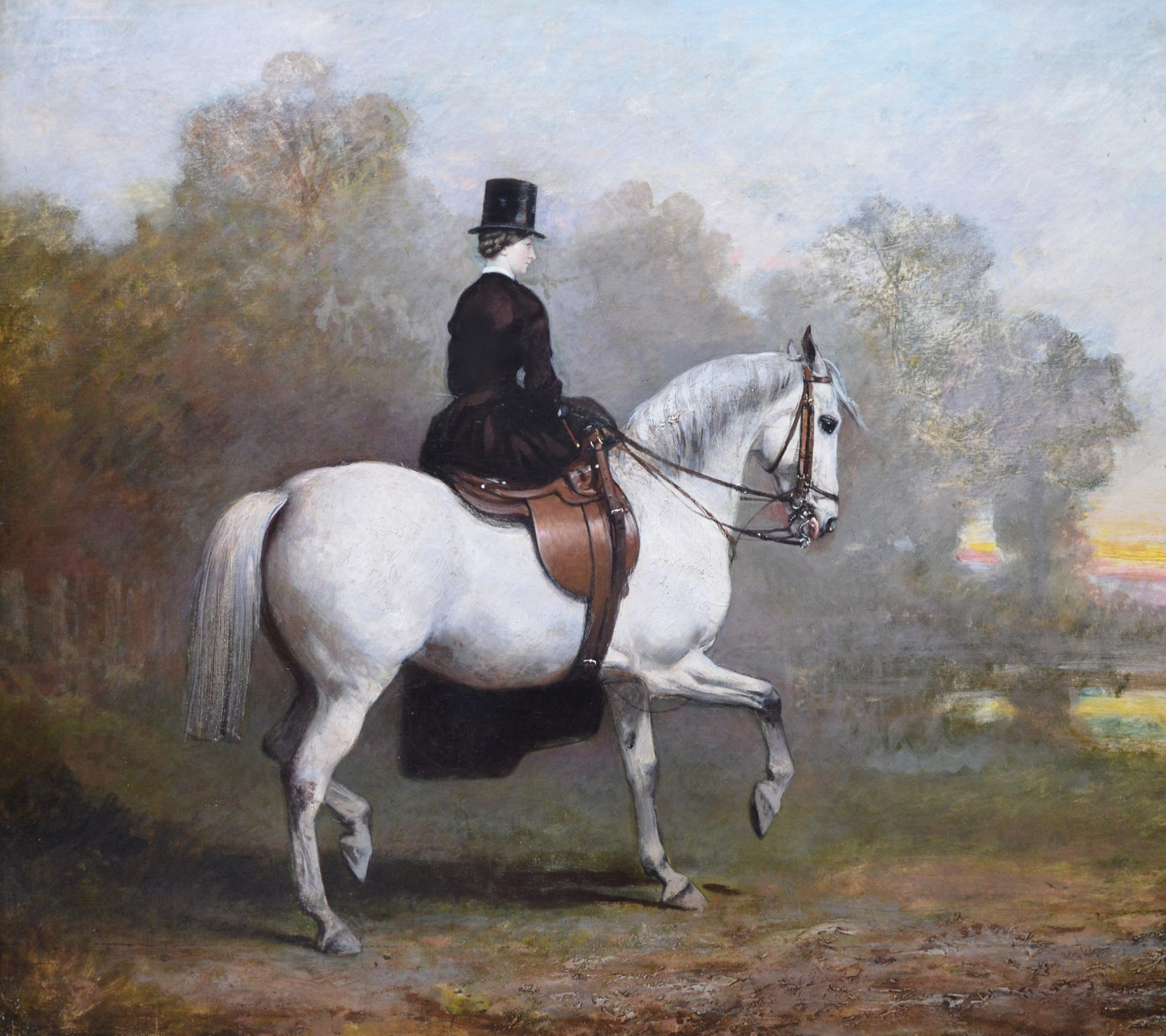 19th Century Portrait of an Elegant Lady on a White Hunter Image
