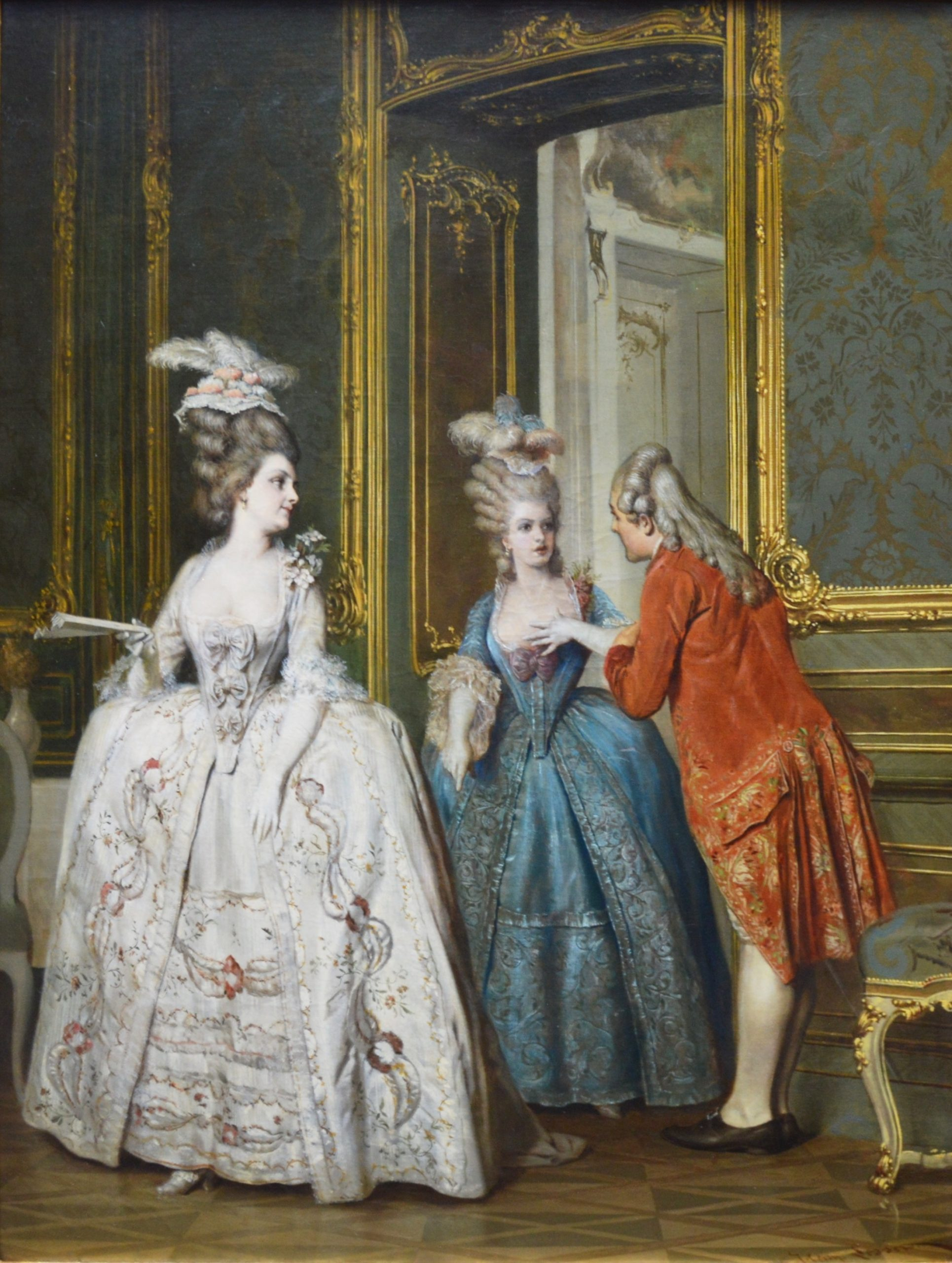 Marie Antoinette & Marie Thérèse at Versailles - 19th Century French Oil Painting Image