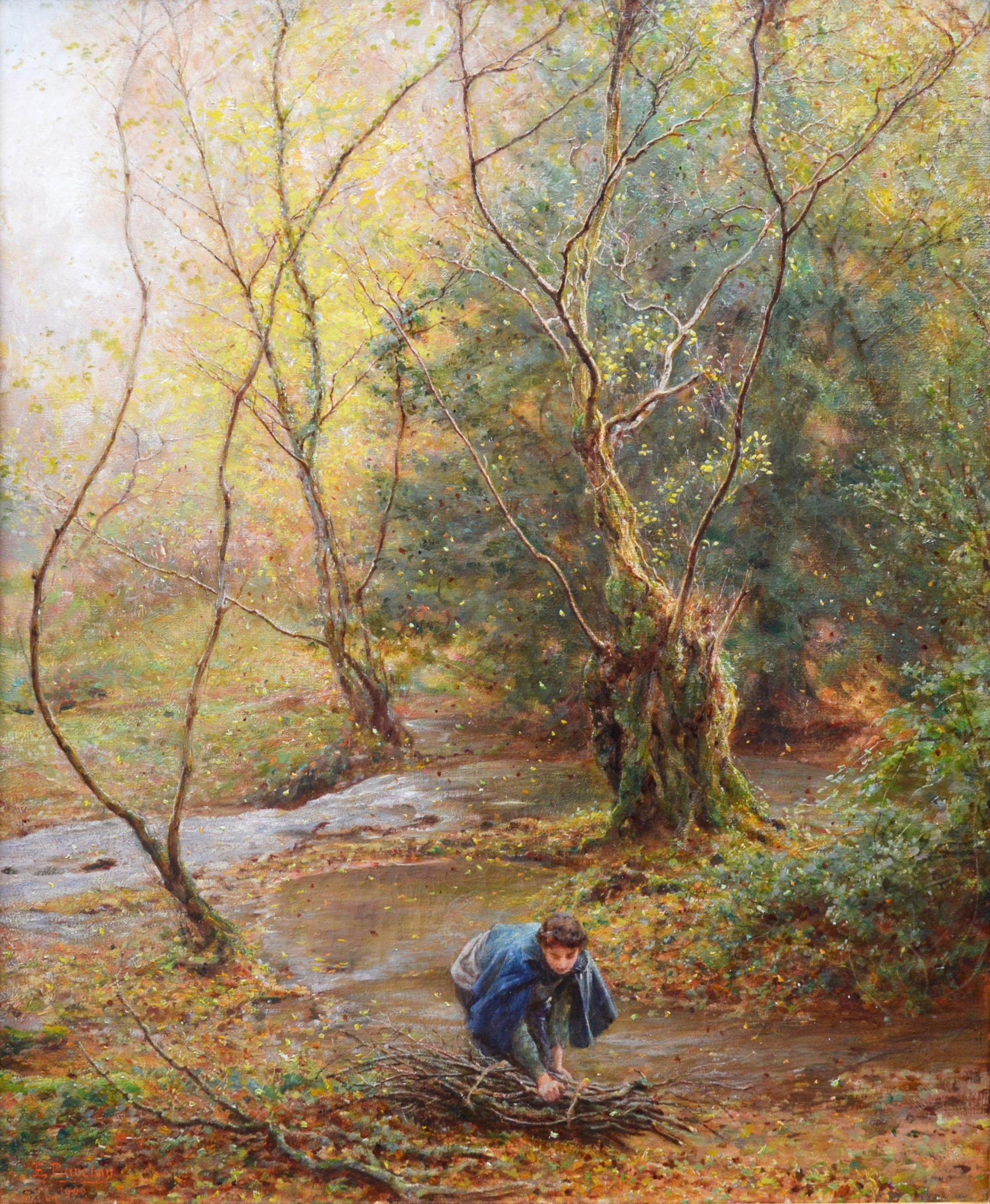 Falling Leaves - Edwardian Royal Academy Oil Painting 1906 Image
