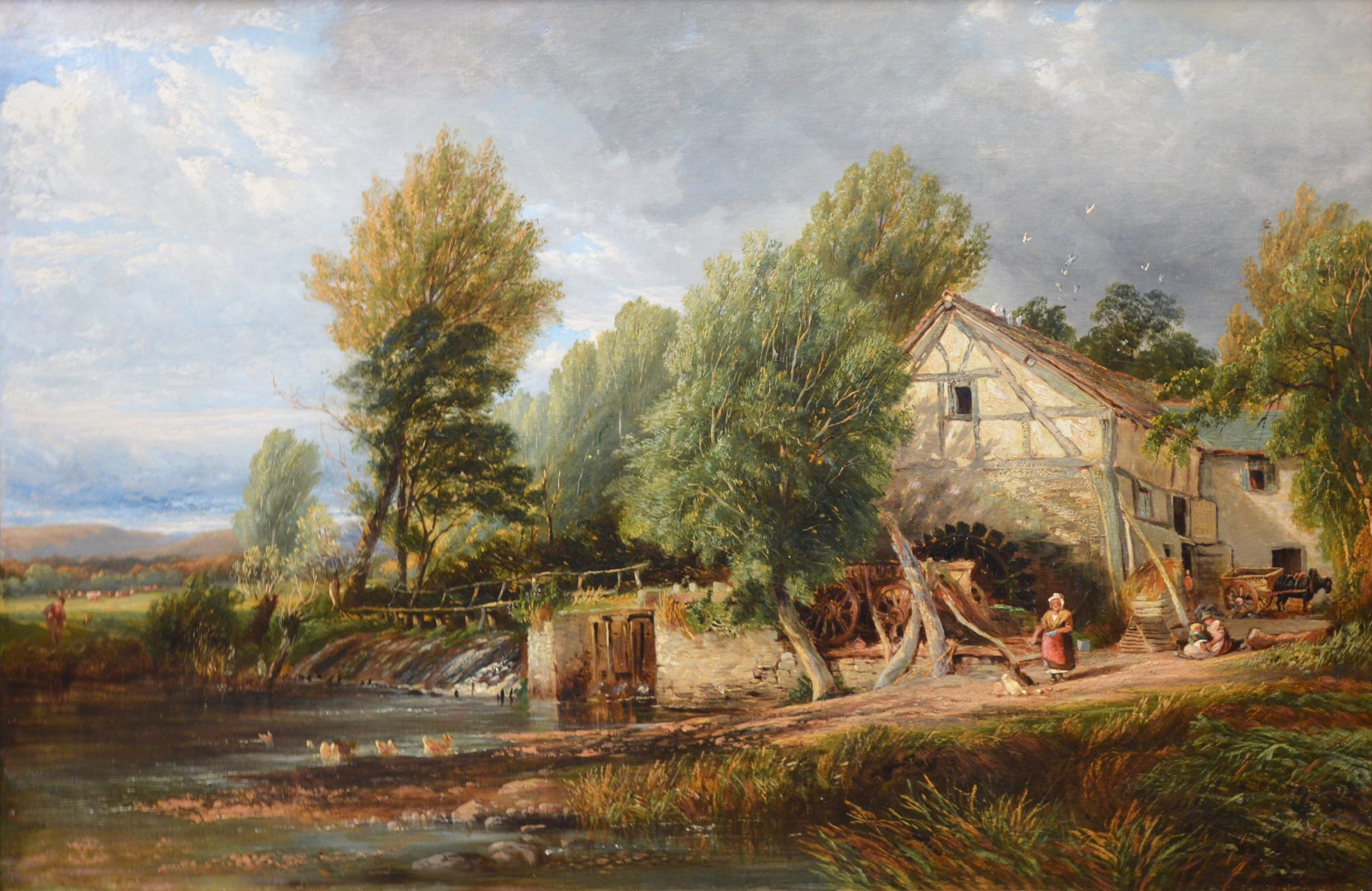 The Mill Stream - 19th Century English Landscape Oil Painting Image