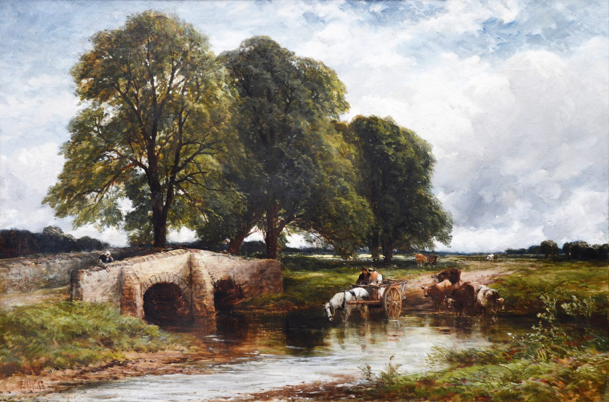 Crossing the Stour - 19th Century English Landscape Oil Painting Image