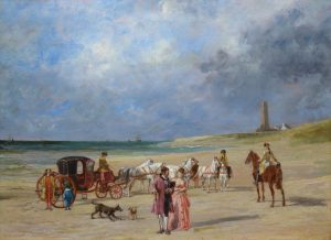 A Day at the Beach - 19th Century French Landscape Oil Painting Image
