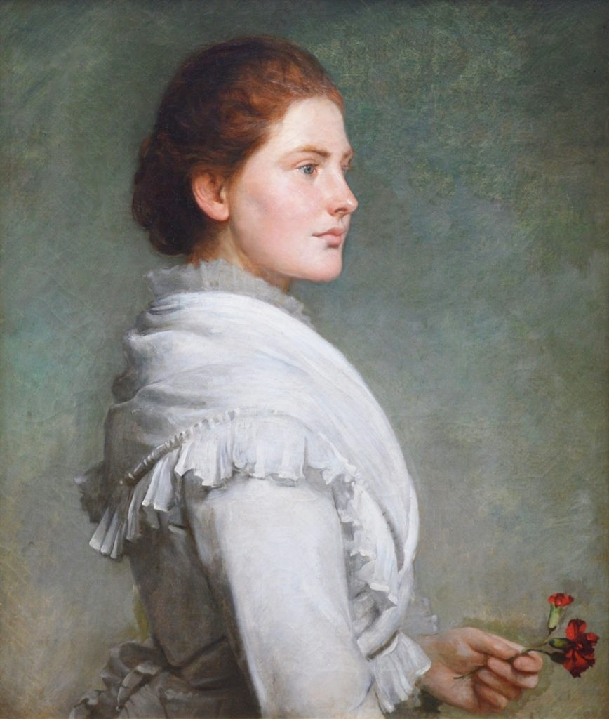 Carnations - Large 19th Century Portrait Oil Painting Image