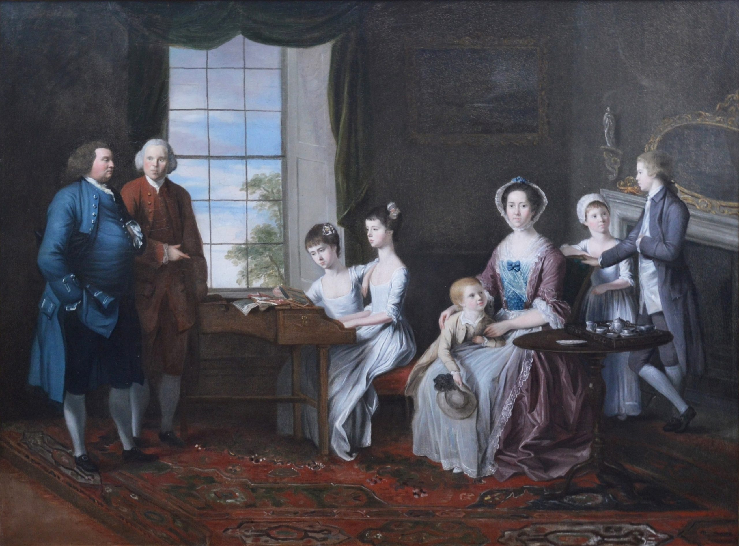 The Hopkins Family - Large 18th Century Group Portrait Oil Painting Image