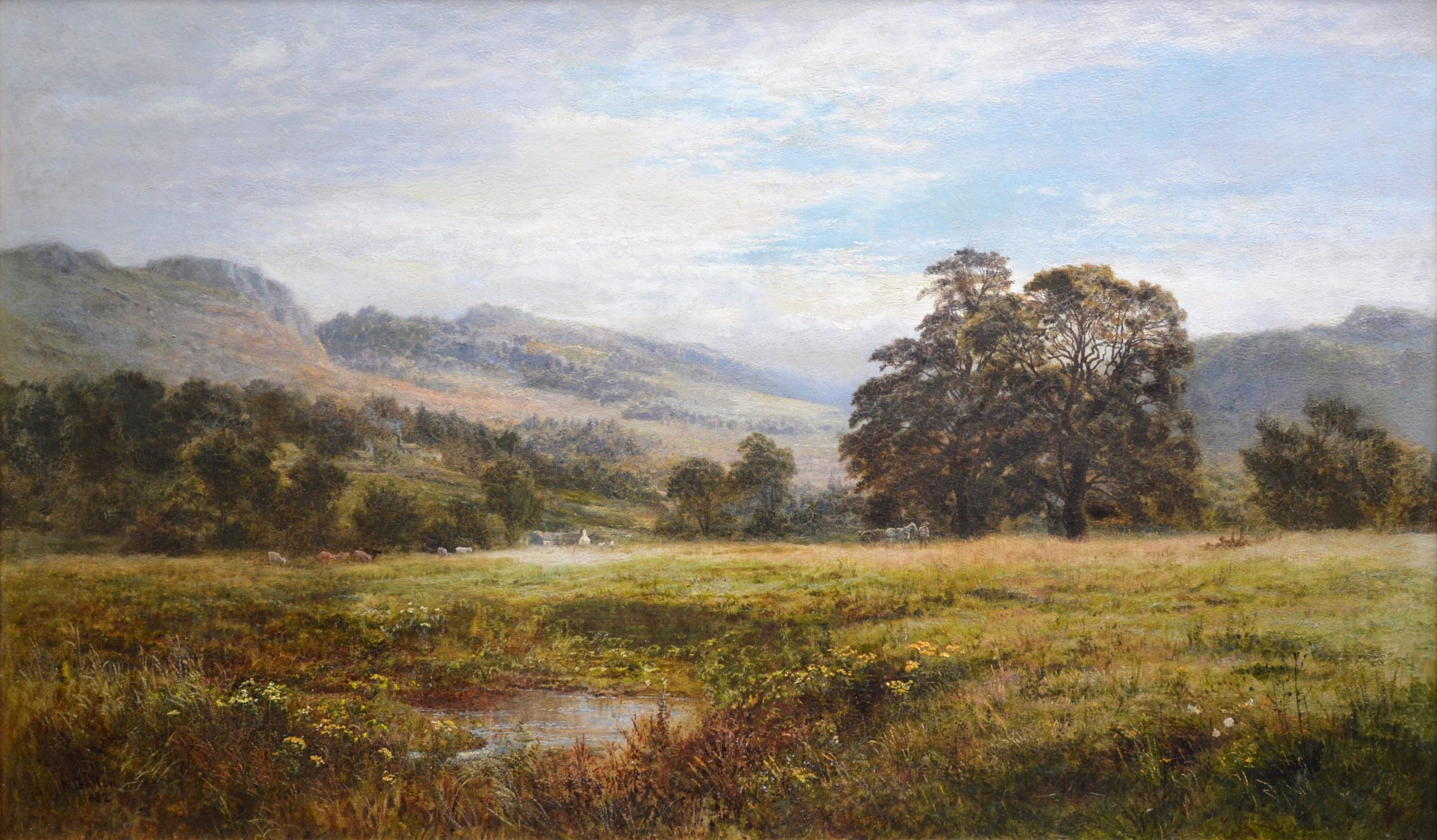 A Quiet Nook on the Swale - 19th Century Exhibition Landscape Oil Painting Image