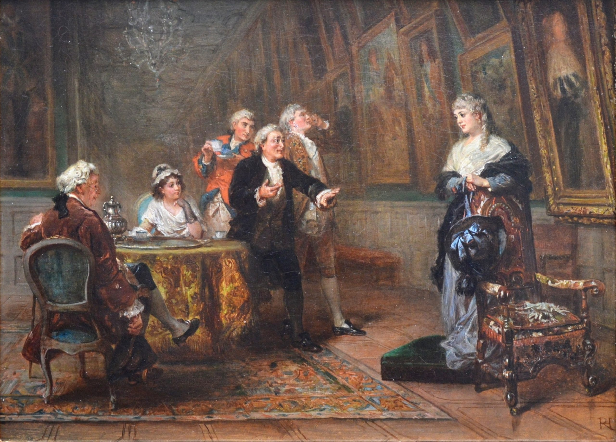 The Long Gallery, Hardwick Hall - 19th Century Oil Painting of English Stately Home Image
