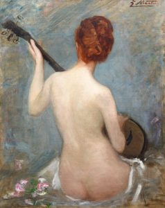 The Lute Player - 19th Century French Impressionist Nude Portrait Oil Painting Image