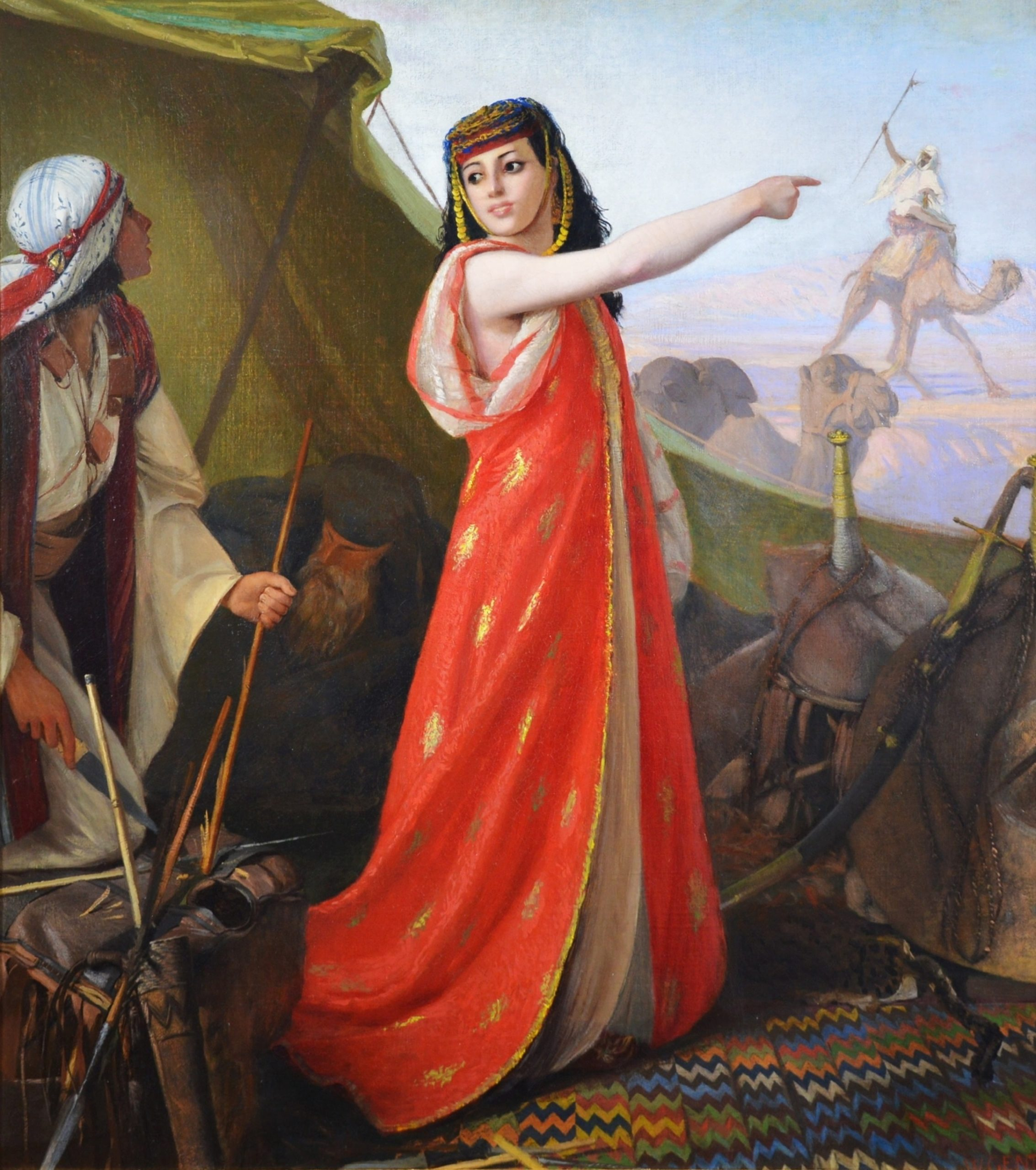 The Beautiful Sentinel - 19th Century Orientalist Oil Painting of Egyptian Girl Image