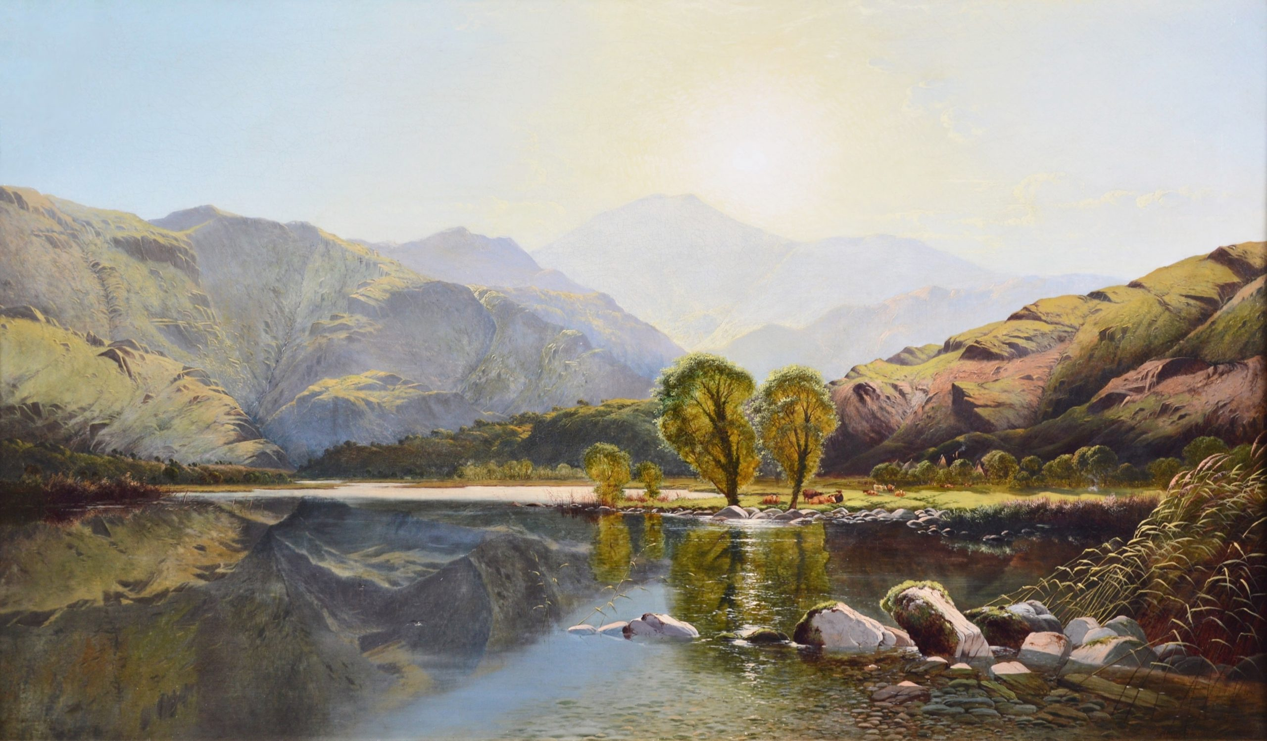 Morning in North Wales - V Large 19th Century Exhibition Oil Painting Image