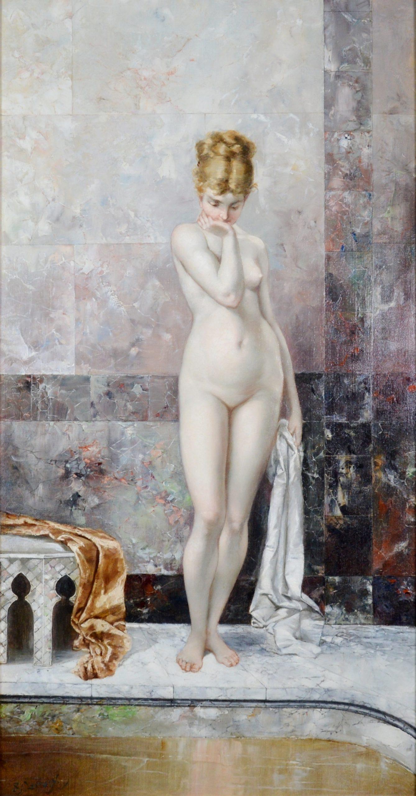 Apprehension - Large 19th Century Orientalist Nude Portrait Oil Painting Image