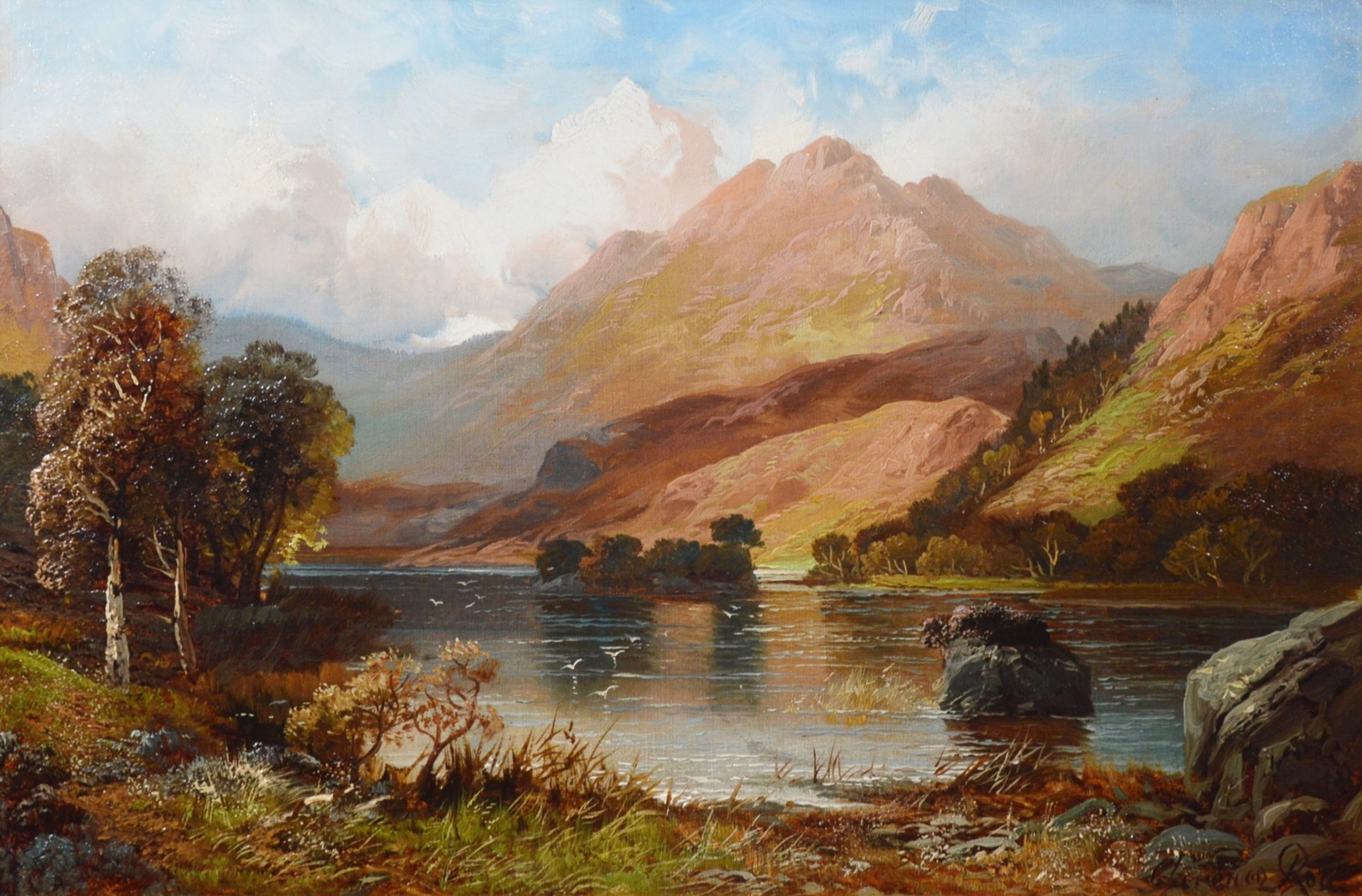 Rydal Water, Westmorland - 19th Century Lake District Landscape Oil Painting Image
