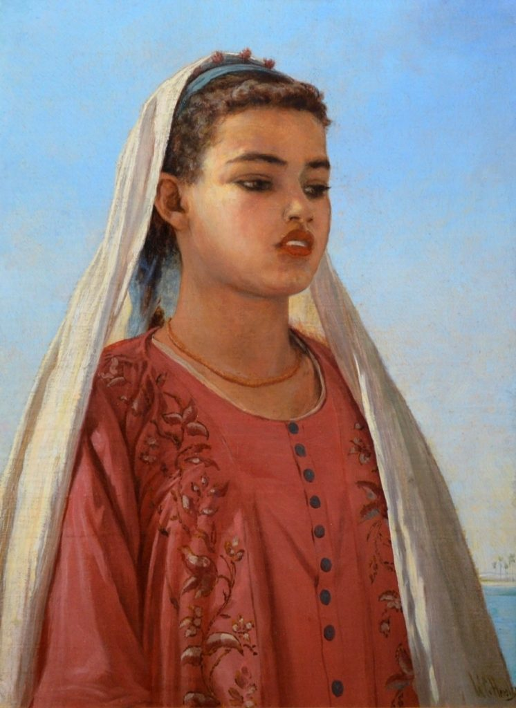 An Almeh on the Nile - Orientalist Oil Painting of Egyptian Beauty Image