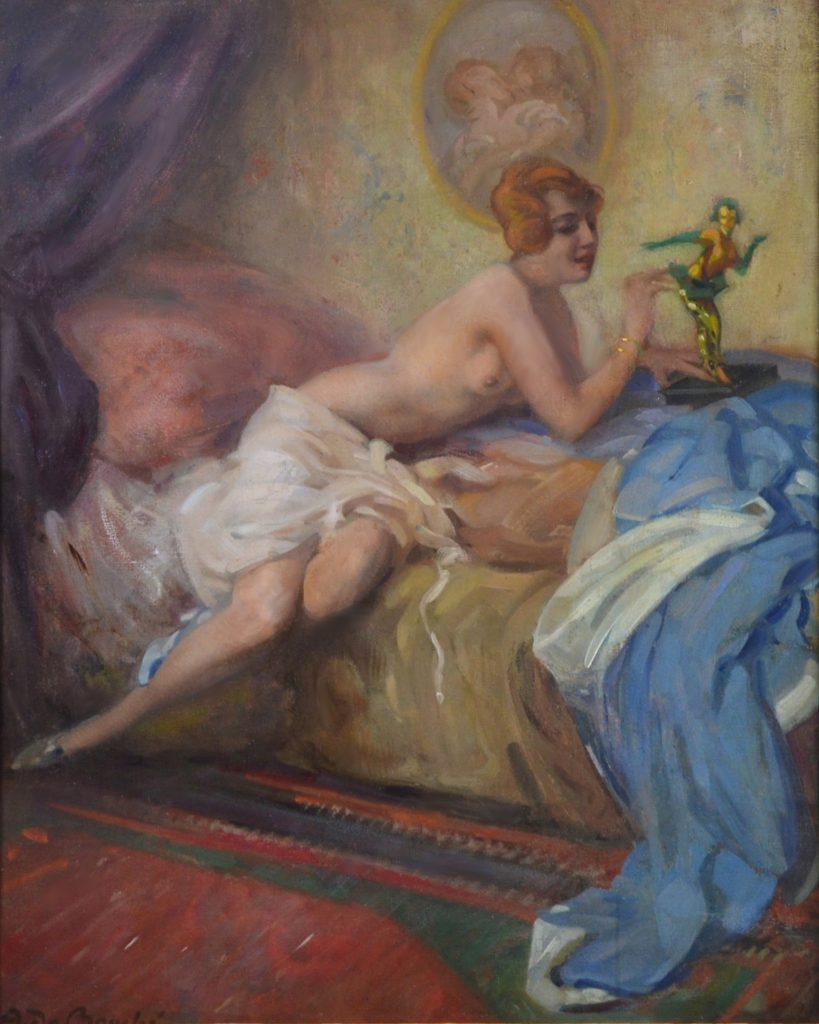 Colombina - Large Belle Epoque Portrait Oil Painting of Semi Nude Image