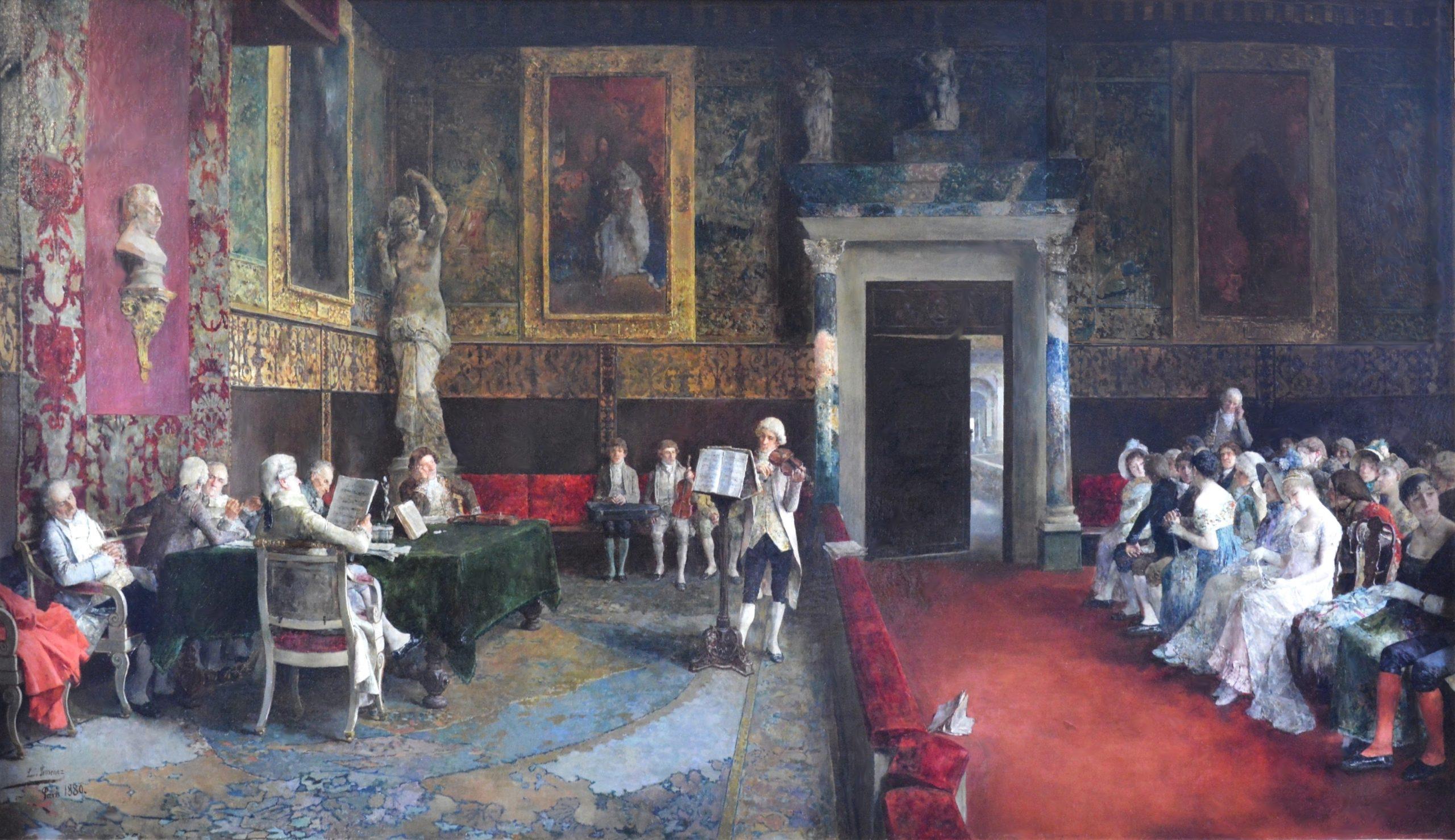 Le Concours de Violon - Large 19th Century Oil Painting of Classical Music Concert, Paris 1880 Image