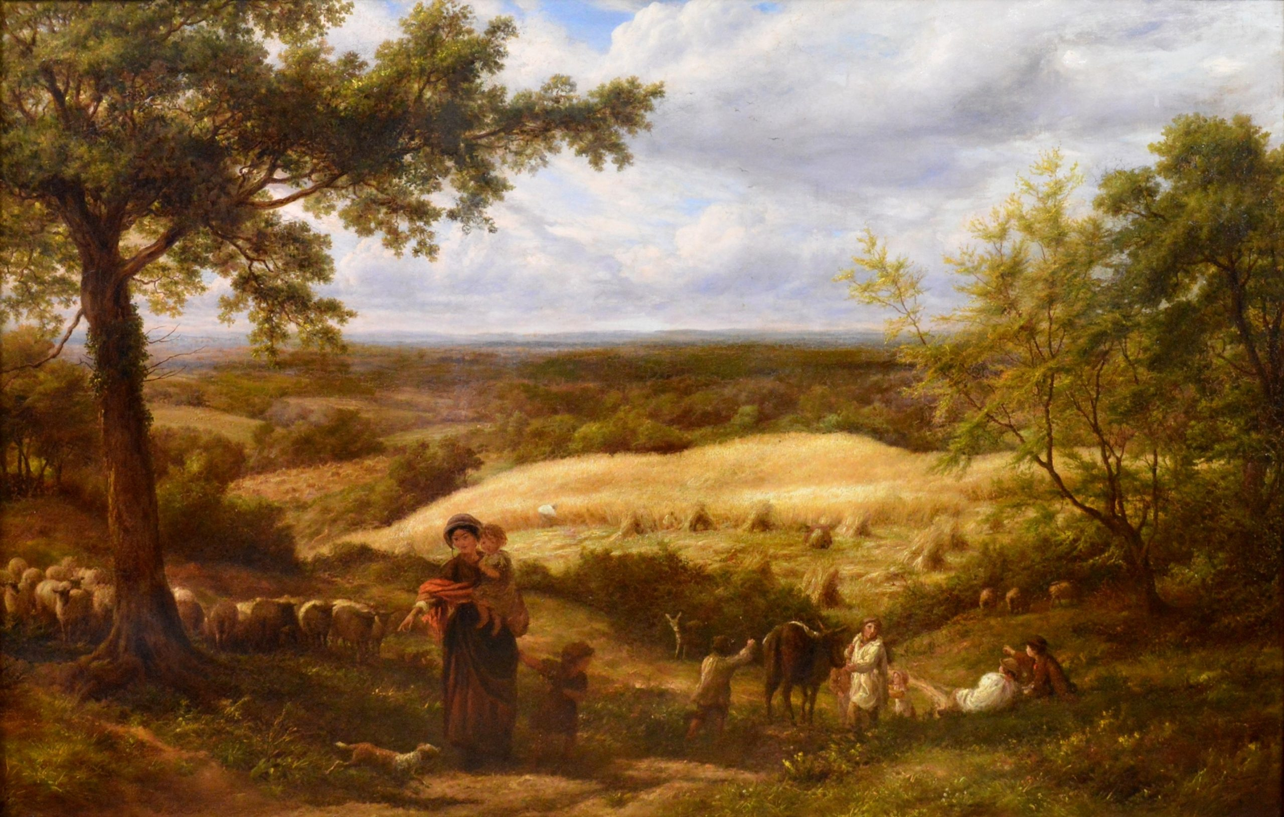 Reaping - Very Large 19th Century Royal Academy Landscape Oil Painting Image