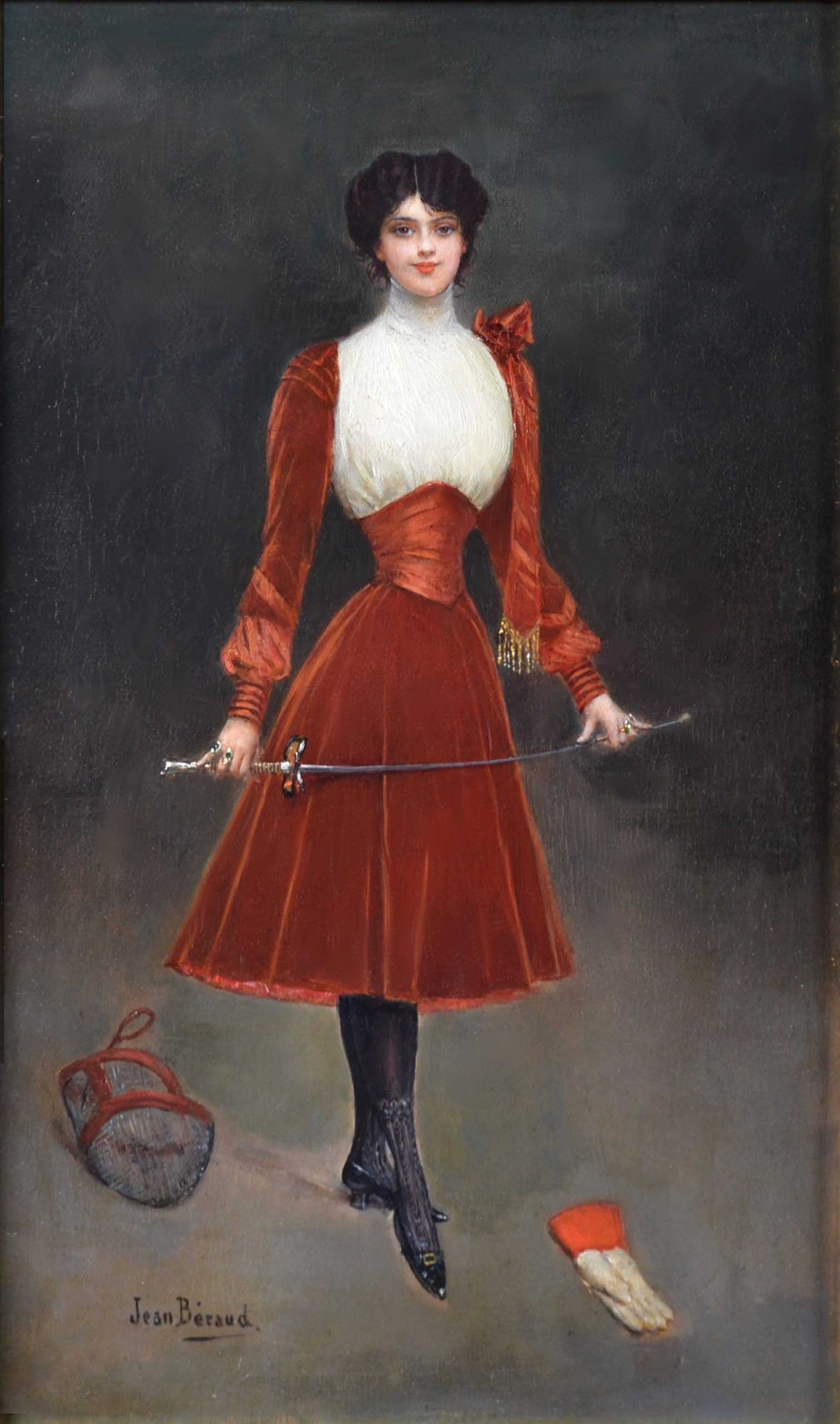 En Garde! - 19th Century French Belle Epoque Oil Painting of Society Beauty Image