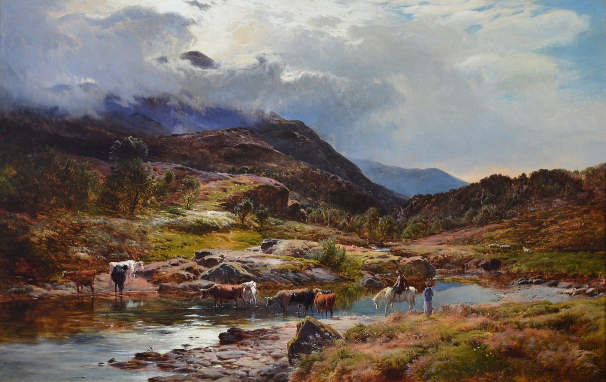 Llanberis Pass, North Wales - Large 19th Century Exhibition Oil Painting Image