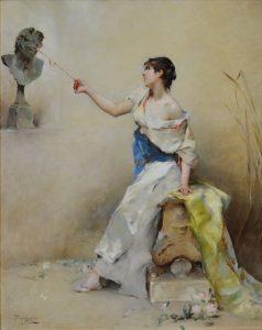 La Fille de la Nymphe - 19th Century French Belle Epoque Oil Painting Portrait Image