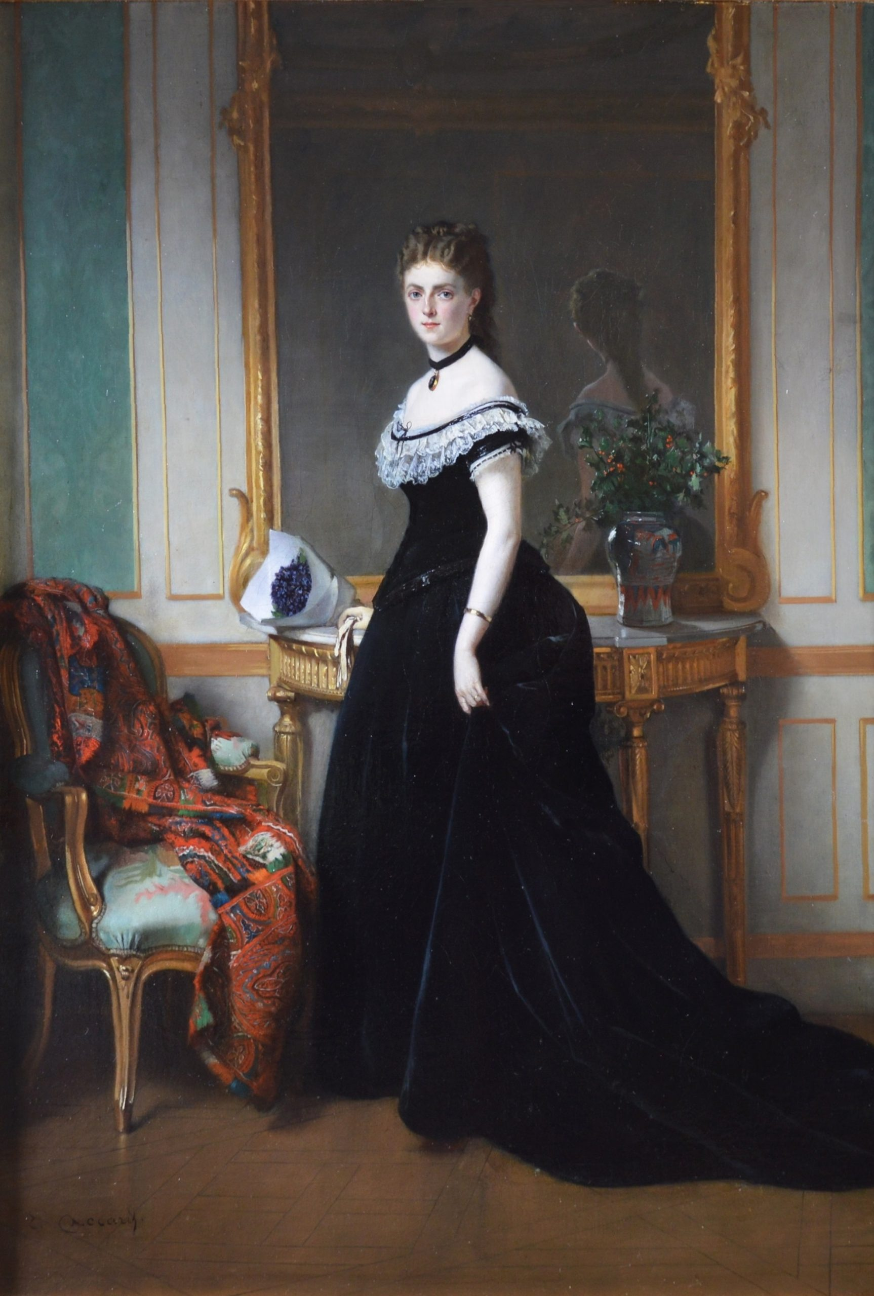 La Femme en Noir - Large 19th Century French Belle Epoque Portrait Oil Painting Image