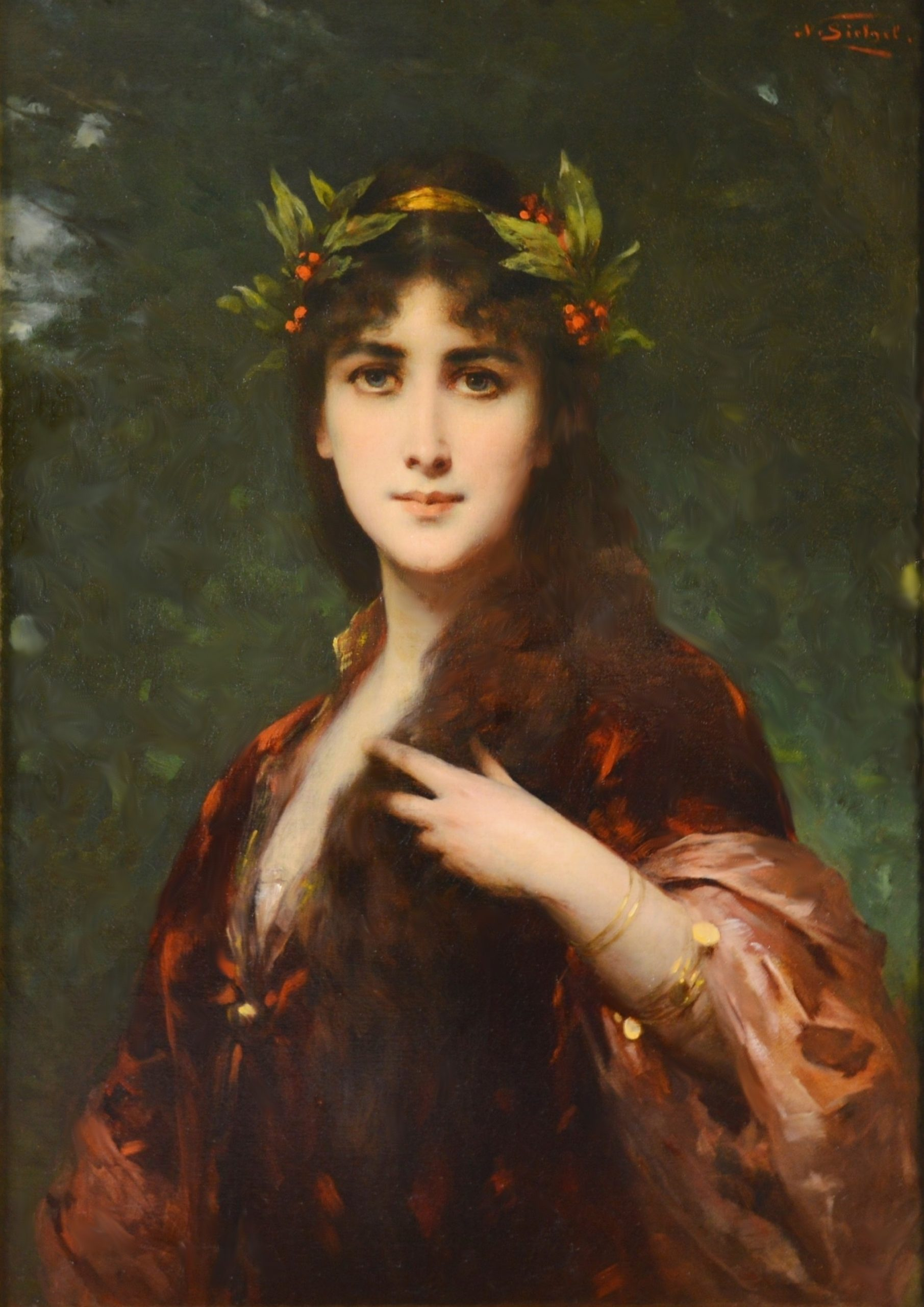 The Enchantress - Large 19th Century French Belle Epoque Portrait Oil Painting Image