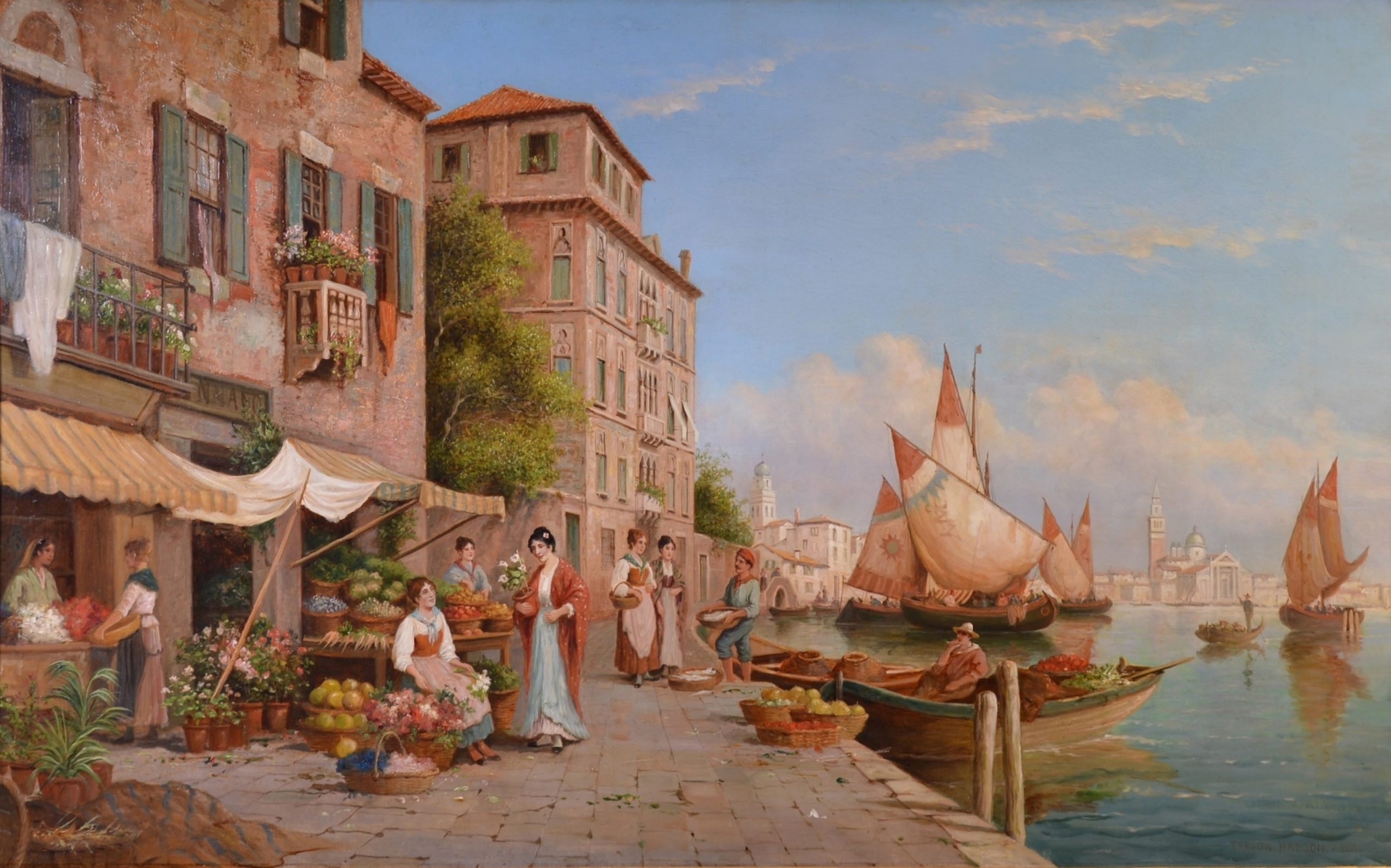 St. Mark's from the Giudecca - Very Large 19th Century Venice Landscape Oil Painting Image