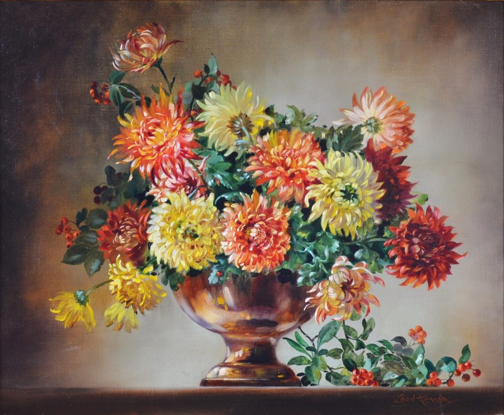 Chrysanthemums - Floral Still Life Oil Painting Image