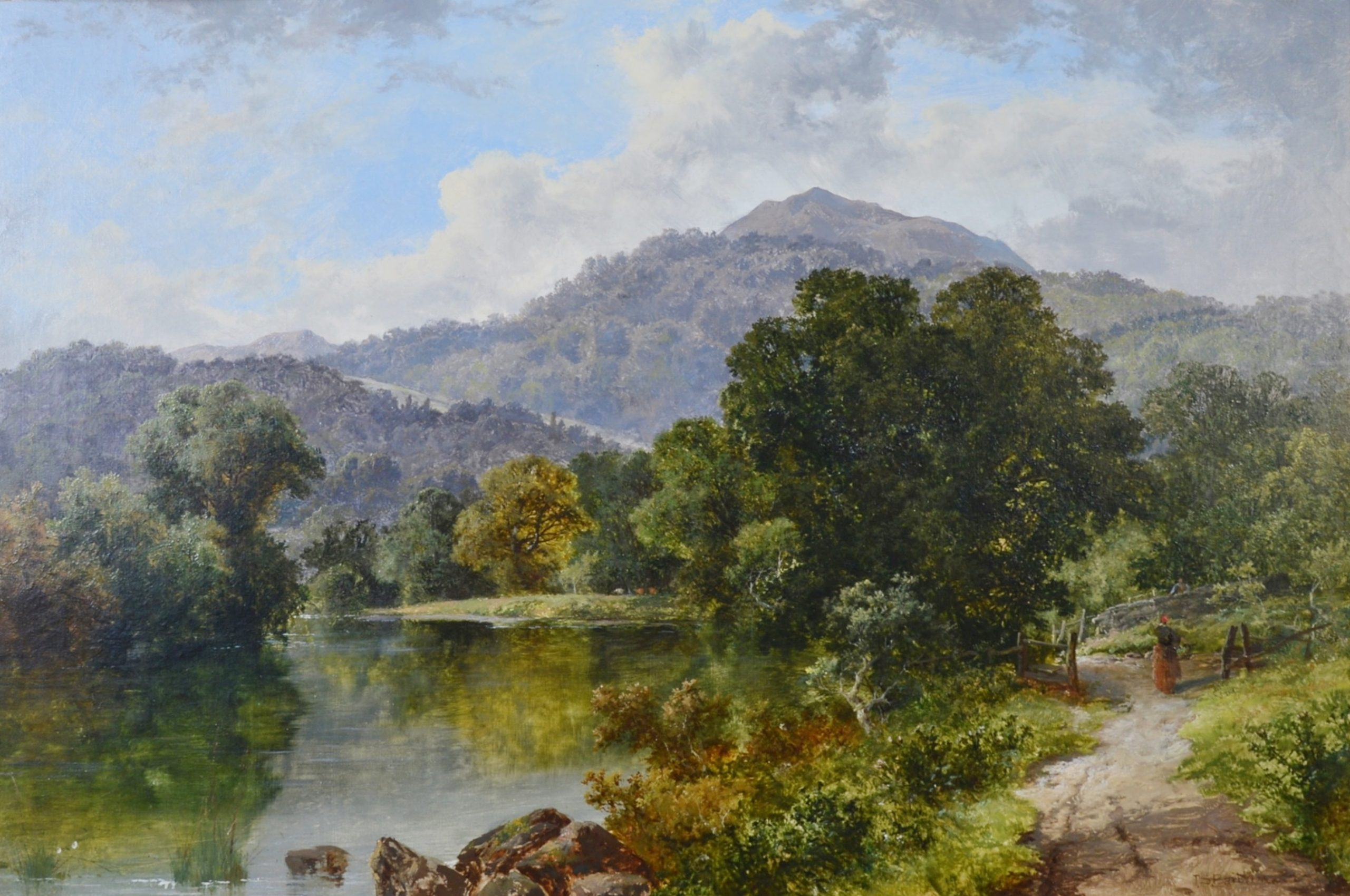 Betws-y-Coed, North Wales - Large 19th Century Welsh Landscape Oil Painting Image