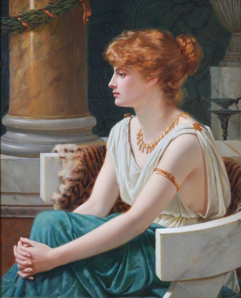 Poppaea Sabina - 19th Century Neoclassical Portrait Oil Painting of Roman Empress Image