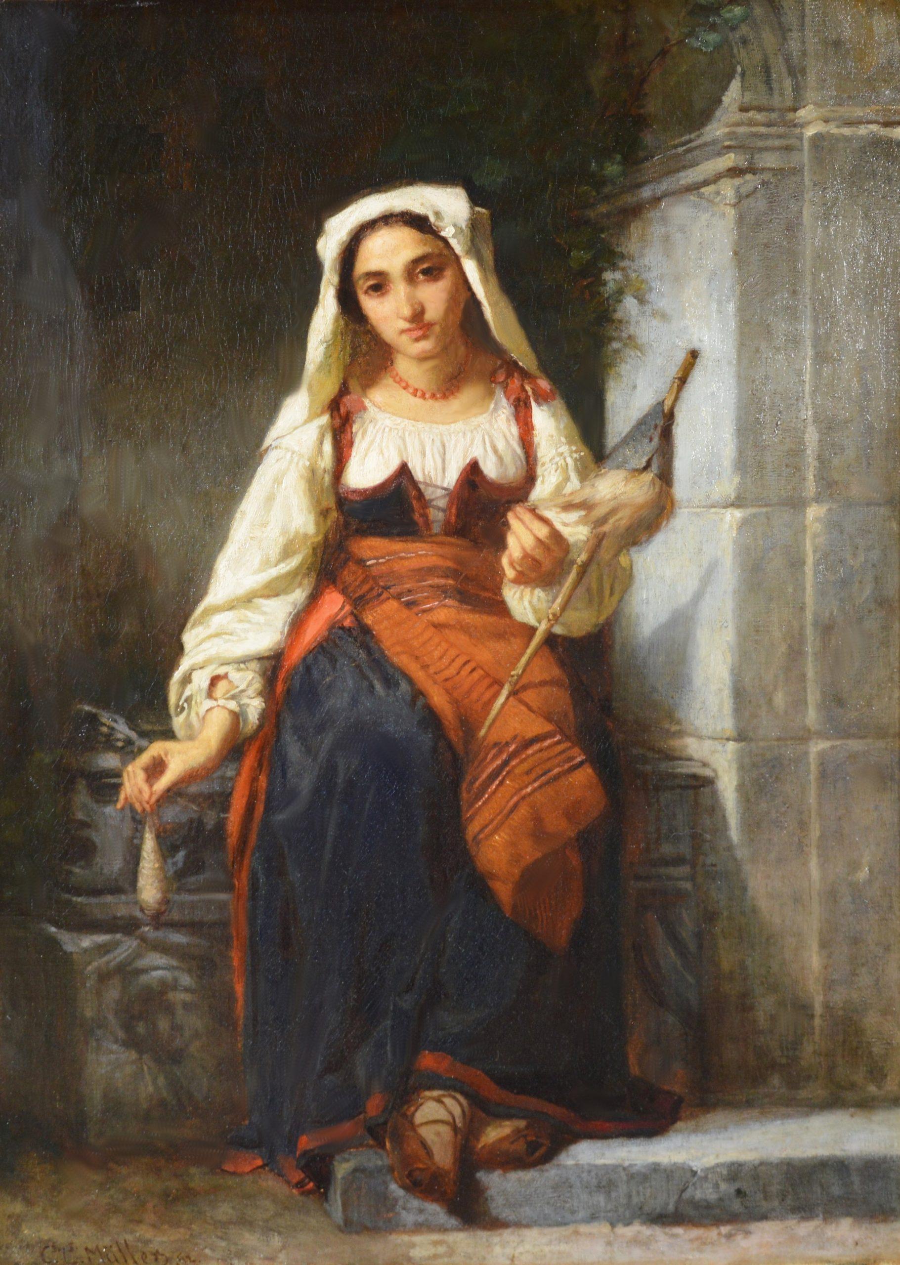 Une Fille de Filature - 19th Century French Portrait Oil Painting Image