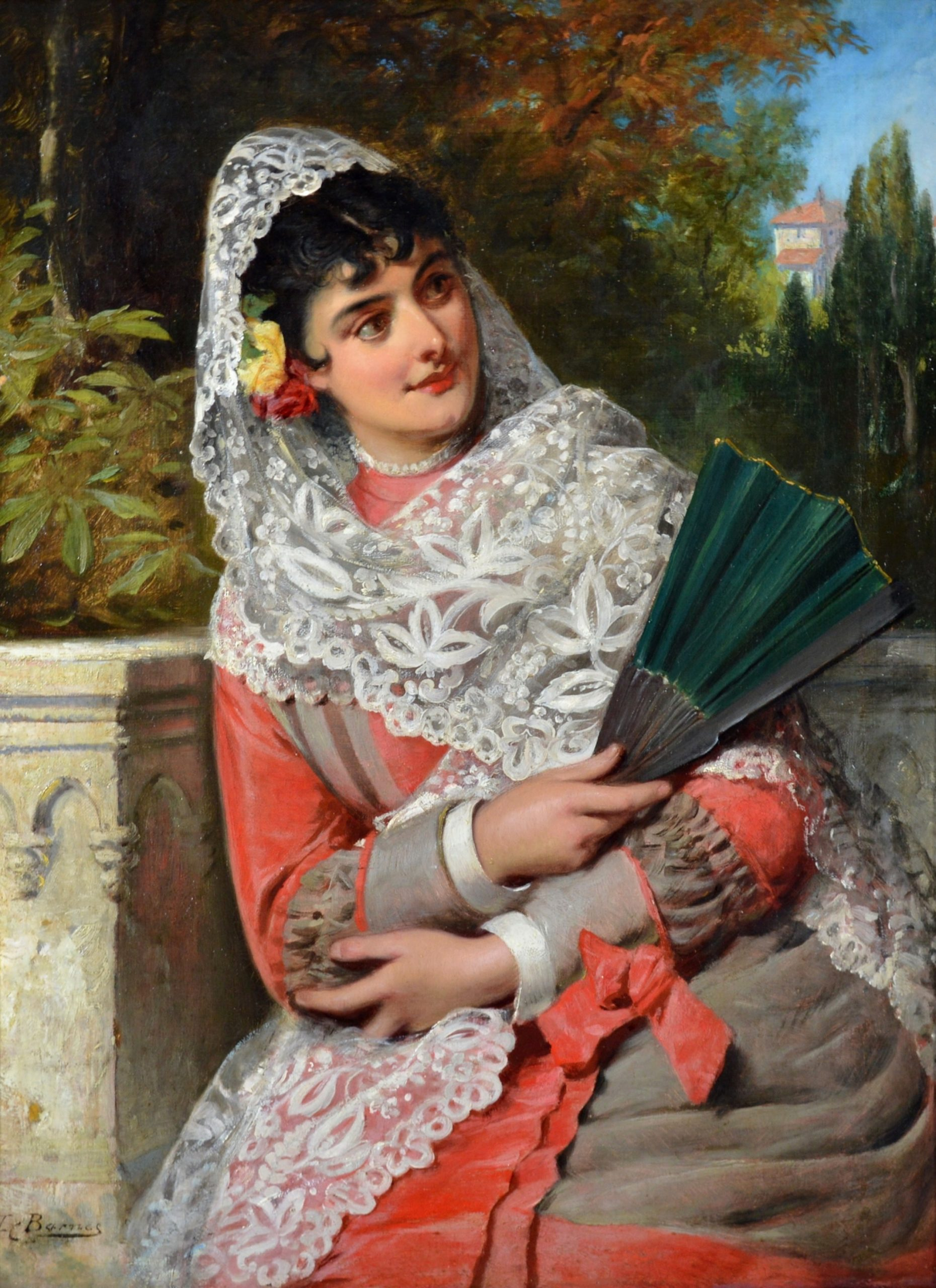 Andalusian Beauty - 19th Century Oil Painting Portrait of Spanish Girl Image